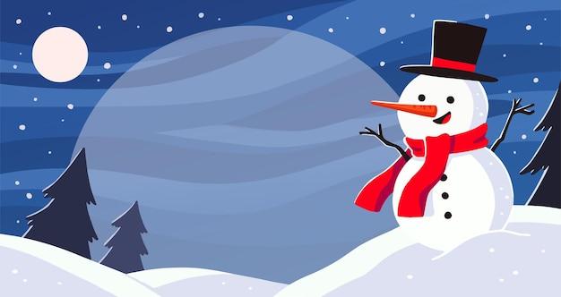 Paesaggio con illustrazione pupazzo di neve.