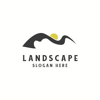 Paesaggio con illustrazione del logo del sole moderno minimalista