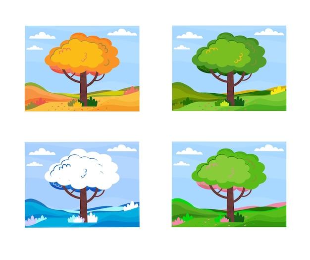 Paesaggio con albero in quattro stagioni set di quattro alberi in inverno primavera estate e autunno