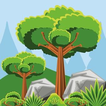 Paesaggio con alberi e pietre Vettore Premium