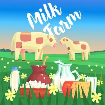 Paesaggio con due mucche e prodotti lattiero-caseari in primo piano