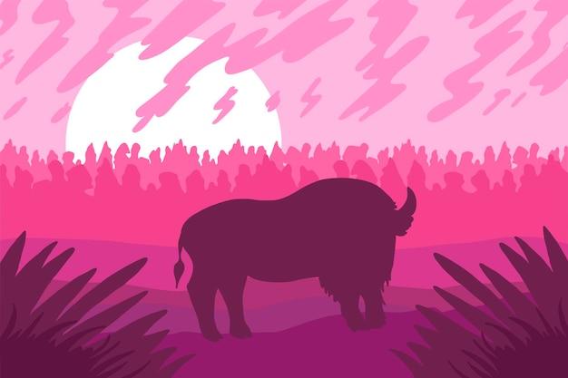 Paesaggio con bizon selvaggio sul campo. scena rosa con tramonto o alba. vettore
