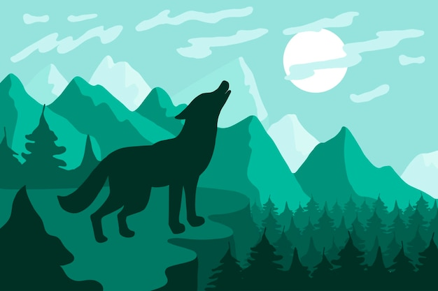 Paesaggio con l'illustrazione piana di vettore della siluetta del lupo. fauna selvatica, sfondo minimalista della natura