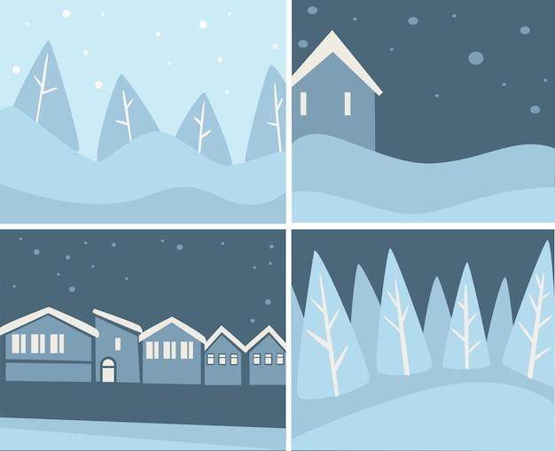 Paesaggi e paesaggi urbani con nevicate e fiocchi di neve. boschi ed edifici coperti di neve. bufera di neve in città o villaggio, scenario di tempesta di neve. skyline nel periodo natalizio, vettore in stile piatto