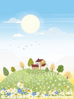 Paesaggi del campo dell'azienda agricola sveglia del fumetto in autunno con l'ape che raccoglie polline sui fiori.