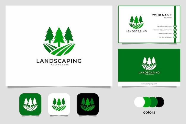 Paesaggistica con design logo albero di pino e biglietto da visita