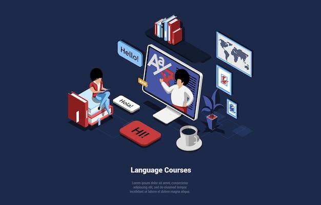 Illustrazione di concetto di corsi di lingua nello stile del fumetto 3d