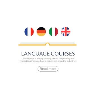 La lingua impara il disegno dell'insegna di vettore. corso di lingua inglese parla diverso logo concept