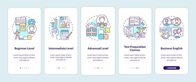 Livelli di apprendimento linguistico onboarding schermata della pagina dell'app mobile con concetti