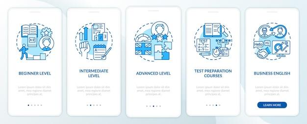 Fasi di apprendimento linguistico onboarding schermata della pagina dell'app mobile con concetti. passaggi dettagliati elementari, intermedi e avanzati. illustrazioni del modello di interfaccia utente