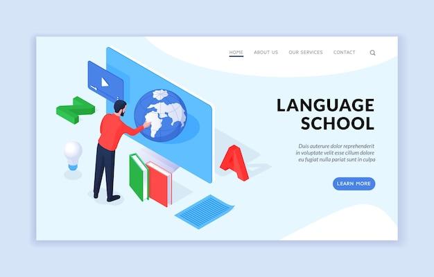 Modello di pagina di destinazione isometrica della scuola di lingue