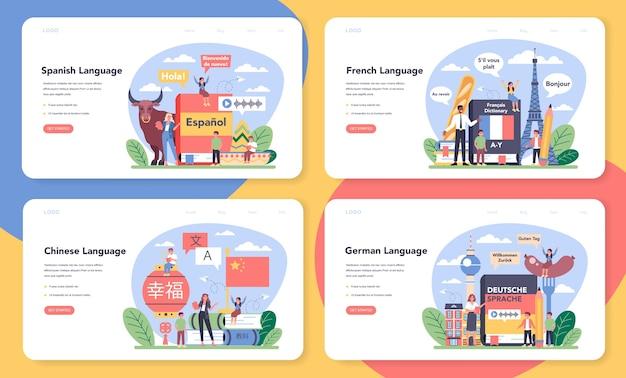 Set di banner web o pagina di destinazione per l'apprendimento della scuola di lingue