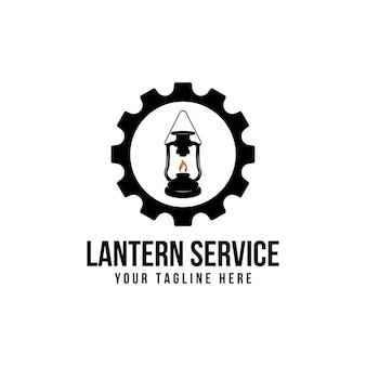 Ispirazione per il design del logo della lanterna e dell'ingranaggio