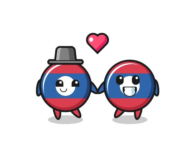 Coppia di personaggi dei cartoni animati con distintivo di bandiera del laos con gesto di innamoramento, design carino
