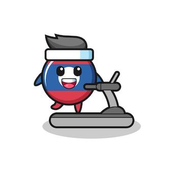 Personaggio dei cartoni animati distintivo della bandiera del laos che cammina sul tapis roulant, design carino