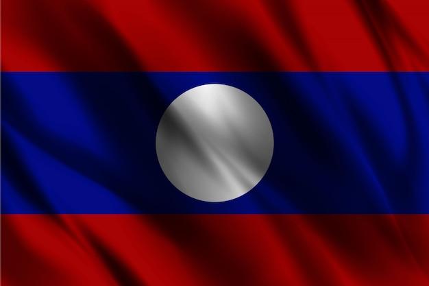 Bandiera del laos che ondeggia fondo astratto