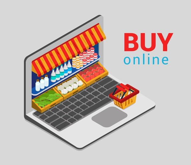 Computer portatile acquista online la spesa nel negozio di e-commerce piatto