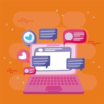 Computer portatile in chat sms messaggi bolle social media fumetto illustrazione