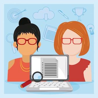 Laptop verifica datori di lavoro cv in colloquio di lavoro