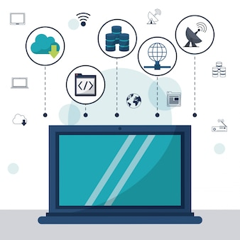 Laptop in primo piano e le icone di archiviazione di rete in alto
