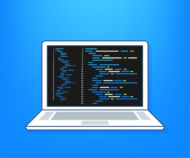 Concetto di codifica del computer portatile. sviluppatore web, programmazione. codice dello schermo del laptop. illustrazione.