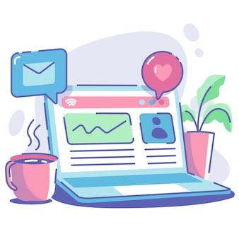 Laptop e caffè con notifica di posta e segno di amore