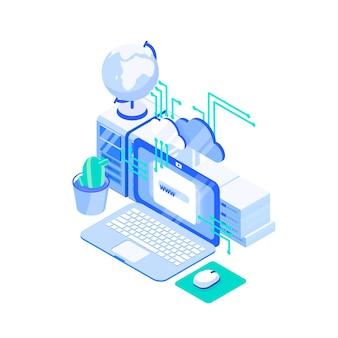 Computer portatile, pila di server e globo. tecnologia di hosting web o internet, servizio di supporto di siti web online, cloud computing e archiviazione. illustrazione vettoriale isometrica colorato creativo.