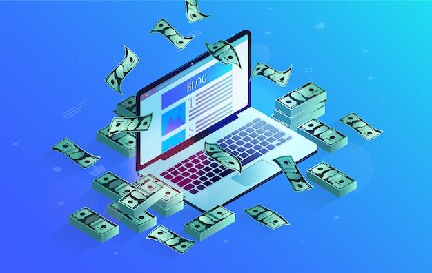 Computer portatile con blog sullo schermo e soldi tutt'intorno