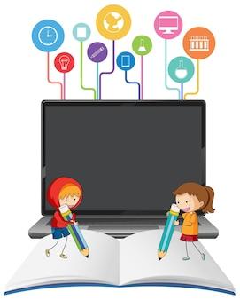 Computer portatile con bambini dei cartoni animati sul libro aperto