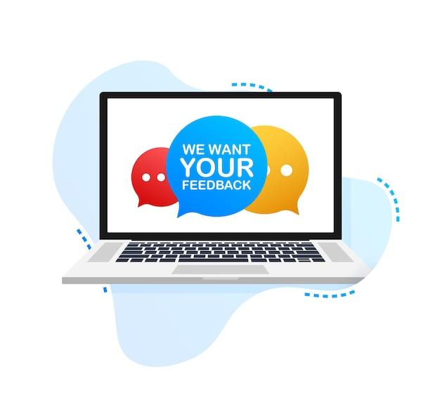 Computer portatile con segno vogliamo il tuo feedback. illustrazione vettoriale.