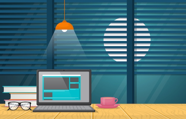 Tazza di caffè del computer portatile sull'illustrazione del tavolo da lavoro dell'ufficio del banco da lavoro