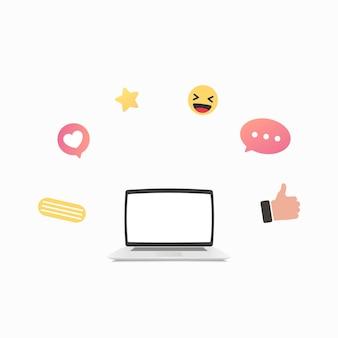 Laptop e diversi simboli di rete sociale illustrazione