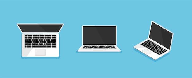 Computer portatile da diverse angolazioni o posizioni computer mock up isolato vista frontale dall'alto e isometrica