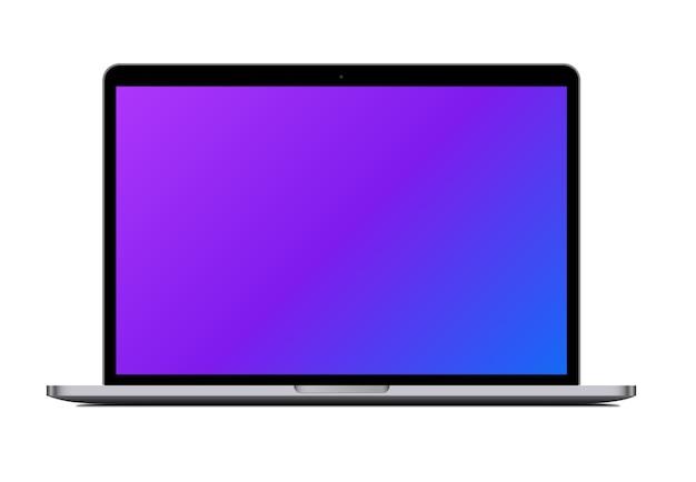 Vista frontale del computer portatile