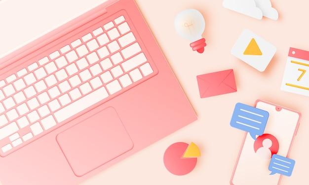 Computer portatile e icona per lavoro da casa