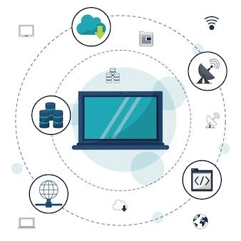 Connessioni e comunicazioni di rete di laptop e icone