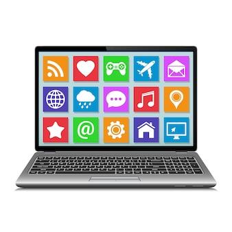 Computer portatile isolato su priorità bassa bianca con le icone delle app sullo schermo