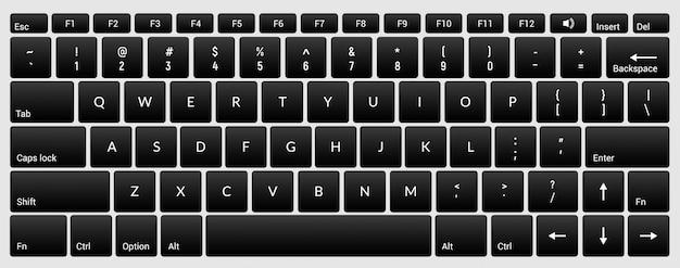 Tastiera del computer portatile isolata tastiera pulsante nero isolata per pc digitale
