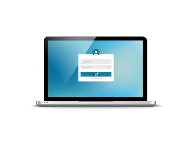 Password di accesso al laptop sulla schermata di blocco. modulo di concetto dell'utente di accesso di protezione di sicurezza del computer.