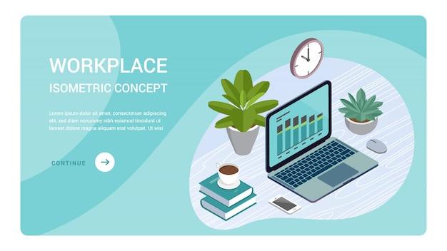 Monitor del computer portatile con la pagina di destinazione degli elementi infographic