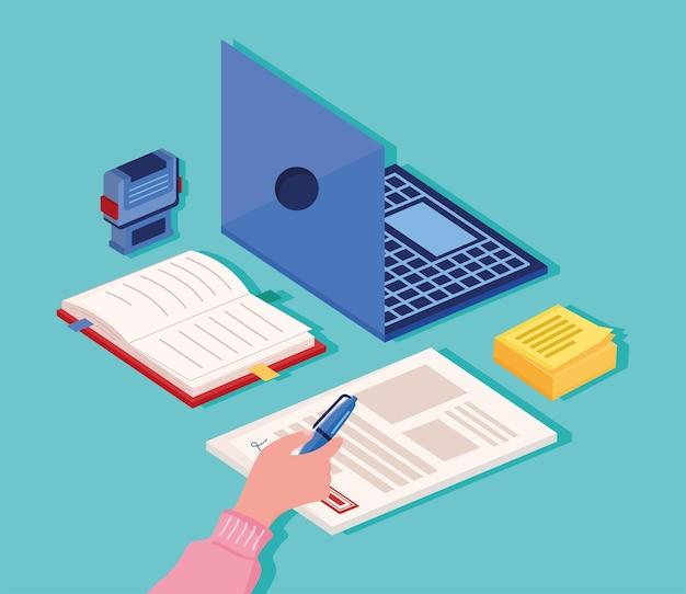 Icone di laptop e notaio