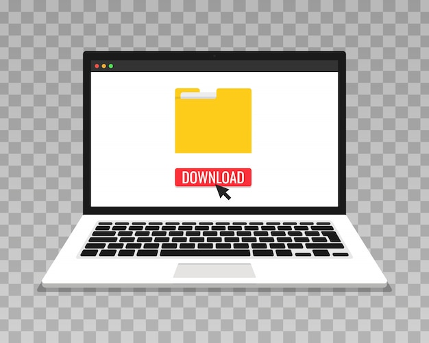 Laptop e barra di avanzamento sullo schermo. download di file, concetto di informazioni. sfondo trasparente.
