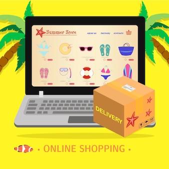 Schermo del computer portatile con un negozio online di attrezzature da spiaggia, surf e ricreazione in mare illustrazione piatta