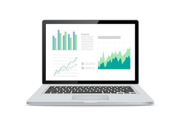 Schermi del computer portatile con grafici finanziari e grafici su sfondo bianco.