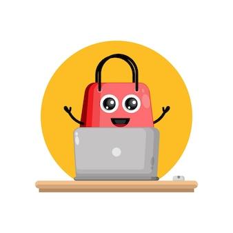 Borsa della spesa per laptop simpatico personaggio mascotte