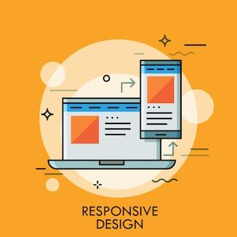 Laptop e smartphone con la stessa interfaccia dell'applicazione sugli schermi. concetto di responsive web design, pagina scalabile, desktop e app mobile