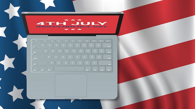 Laptop sulla bandiera degli stati uniti celebrazione del giorno dell'indipendenza americana 4 luglio banner biglietto di auguri orizzontale angolo superiore vista illustrazione
