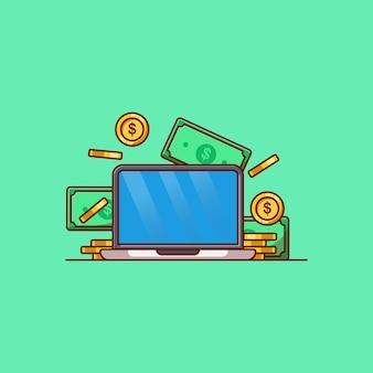 Progettazione di illustrazioni vettoriali per laptop e raccolta di monete e banconote