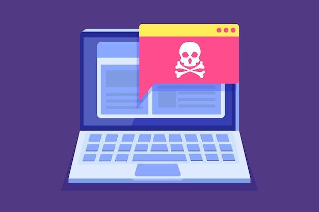 Notifica o avviso trojan malware virus laptop