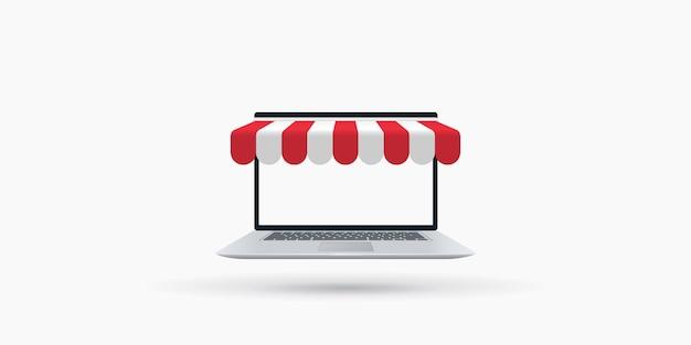 Laptop con illustrazione tenda da sole